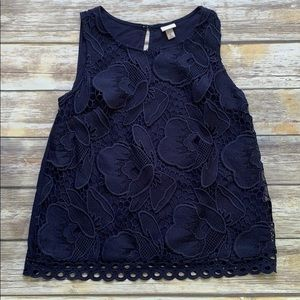Merona Floral Open Knit Shell